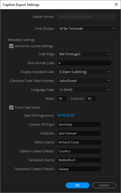 Caption Export Settings