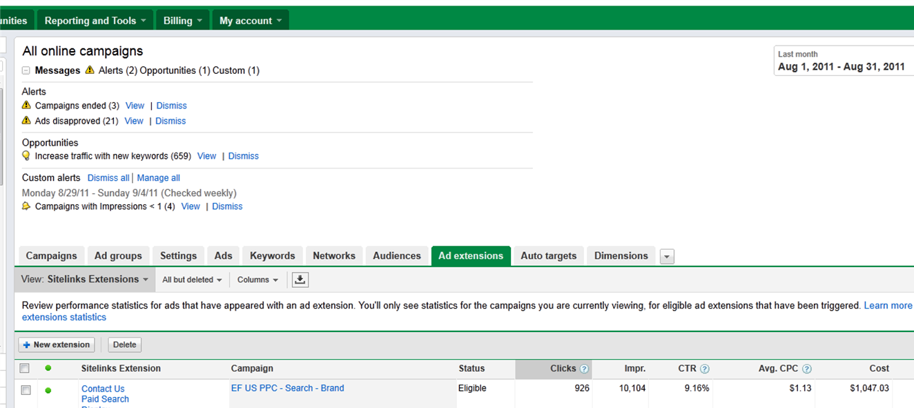 Where do I find Ad Extensions in AdWords
