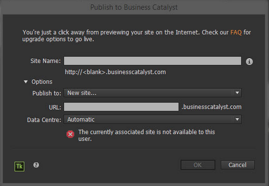 Error when publishing Adobe Muse site to Business Catalyst