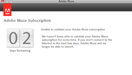 Unable to validate your Adobe Muse subscription