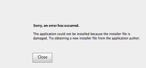 Install error message