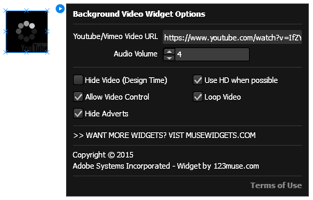 Background Video widget options