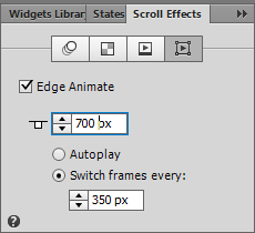Scroll Effects panel