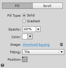 Add a background image to fill the rectangle and set the desired display options in the Fill menu.
