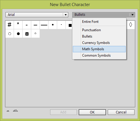 Change font to apply custom bullet characters.
