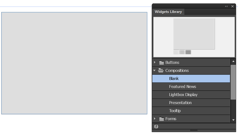 Blank Composition widget in Adobe Muse