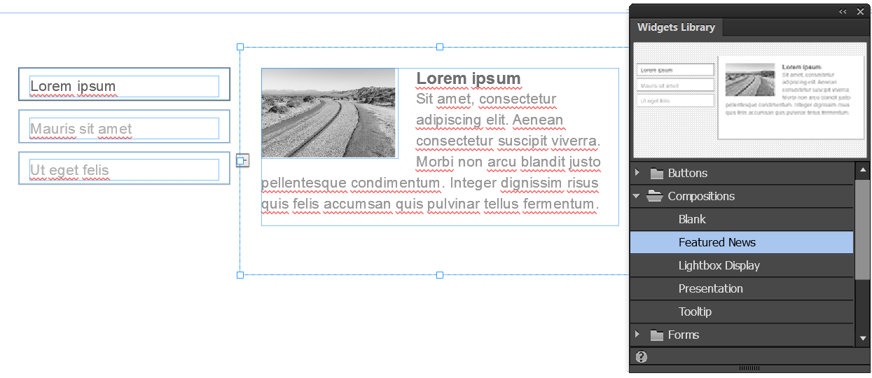 Featured News Composition widget in Adobe Muse