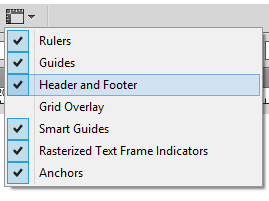 Verify that the Header and Footer guides are enabled.