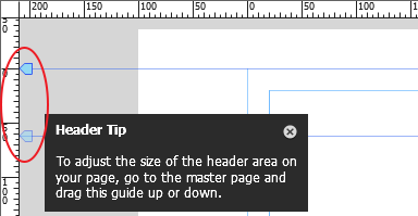 Drag the Header guide to set the header area