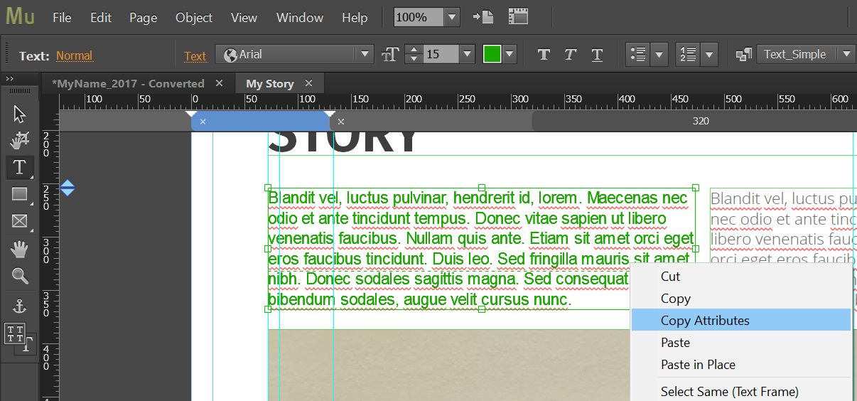 Copy Character or Paragraph styles in Adobe Muse
