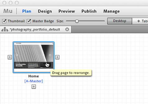 Double-click pages in Muse Plan View to open page in Design View.
