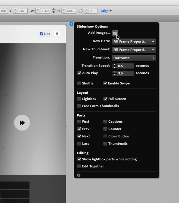 Add images to Slideshow widgets in Adobe Muse
