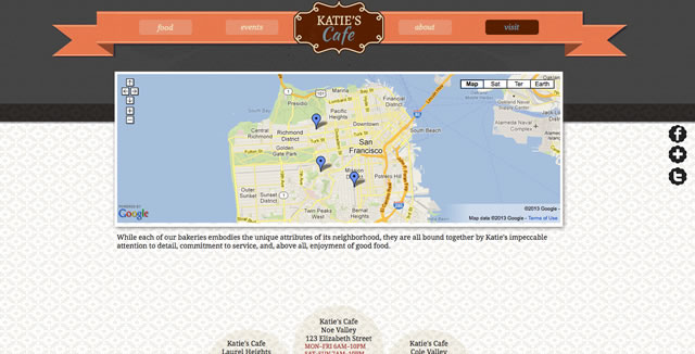 Web page with map