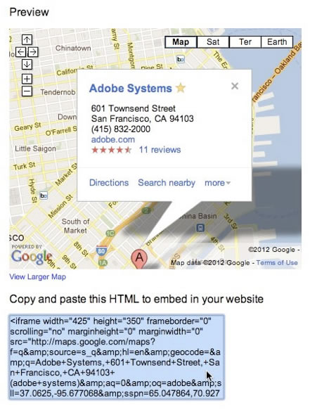 Copy the HTML source code from the Google Maps window