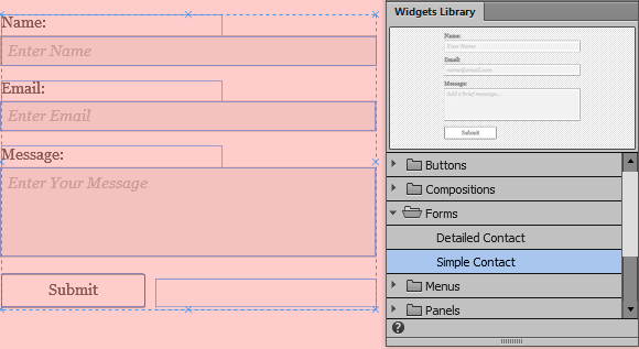 Add contact forms and style form widgets in Adobe Muse