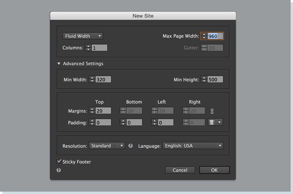 In the New Site dialog box, select Fluid Width.