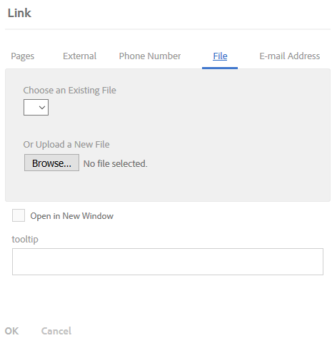 Edit Link dialog with File selected