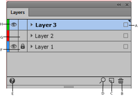 The itemized features in the Layers panel.