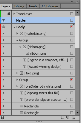 Show or hide objects through the Layers panel