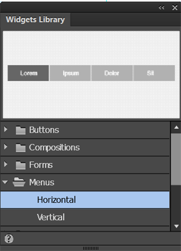 Select either the vertical or the horizontal Menu widget in Adobe Muse