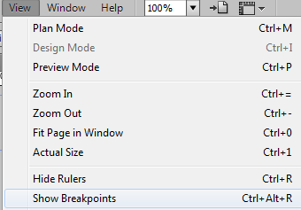 Show breakpoints through View menu
