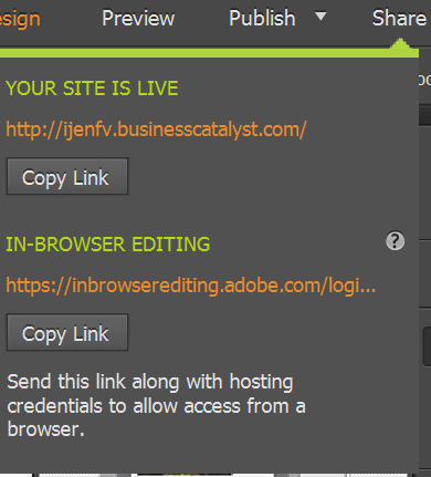 Share the URL to your published site