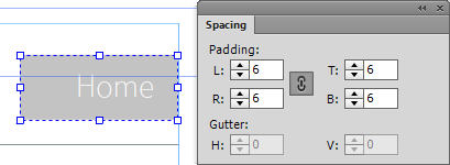 Configure the padding and gutter settings from the Spacing panel.