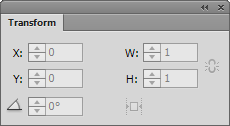 Open the Transform panel in Adobe Muse.
