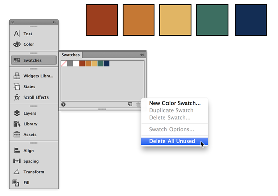 After importing, delete unused color swatches in a new Adobe Muse site.