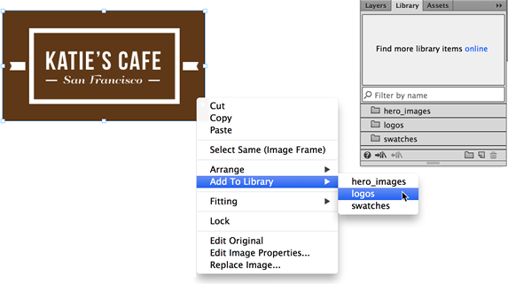 From the Adobe Muse context menu, choose the Add to Library option.