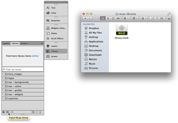 Click the Import Muse Library button and open a .mulib file in Adobe Muse.