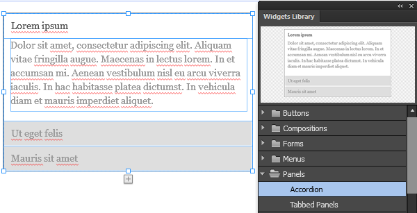 Drag and place the Accordion widget on the Adobe Muse page.