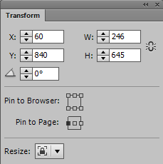 Review the width and height fields to check the dimensions of the resized widget.