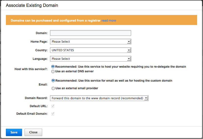 Existing Domain options