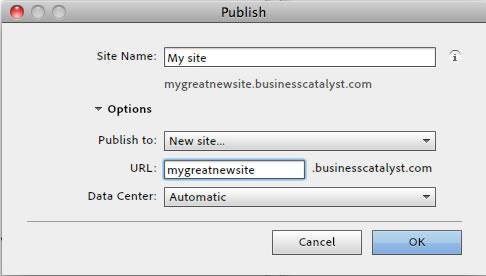 Publish site options