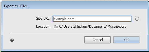 Export as HTML dialog box