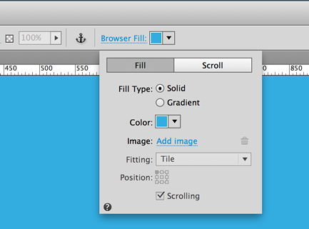 Set the browser fill color in the Browser Fill menu.