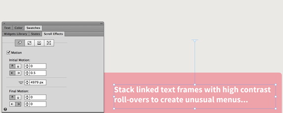 The text frame is set to move to the left (the opposite direction of the rectangle and placed image) at a slower rate.