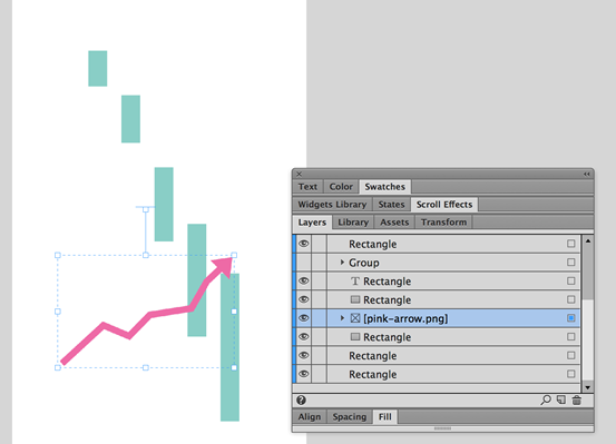 Use the Layers panel to arrange the PNG arrow image so that it appears to weave between the bars in the graph.