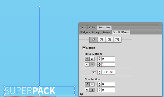 Enable the Motion checkbox and configure the scroll effects to move the text frame to move to the right.