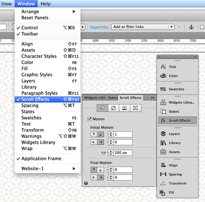 Open the Scroll Effects panel to access the scroll effect settings.