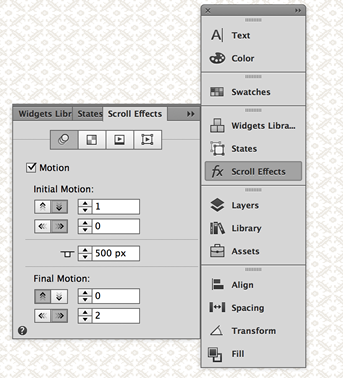 Apply the Motion Settings to set the scroll effect in Adobe Muse