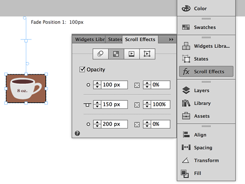 Check the Opacity checkbox to enable opacity scroll effects for the selected element.