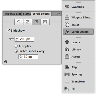 Set scroll effects for Slideshows in Adobe Muse