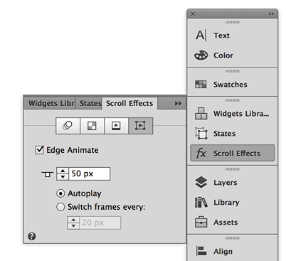 Setting scroll effects for animations in Adobe Muse