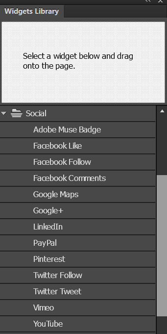 Social widgets in Adobe Muse