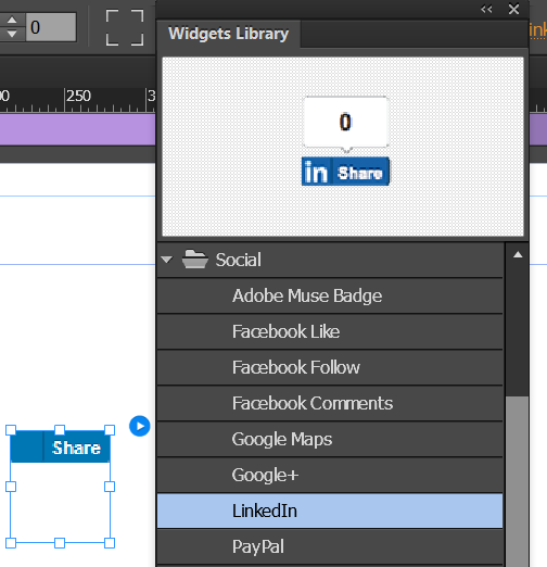 Drag and place the social widget in Design View.