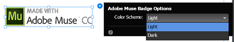 Configure the Adobe Muse Badge widget