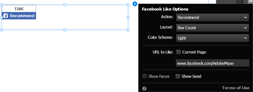 Configure the Facebook Like widget