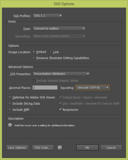 Especifique as Configurações de SVG no Adobe Illustrator e antes de o SVG na Adobe Muse CC.